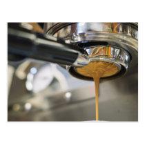 Pouring Espresso from Coffee Machine Postcard
