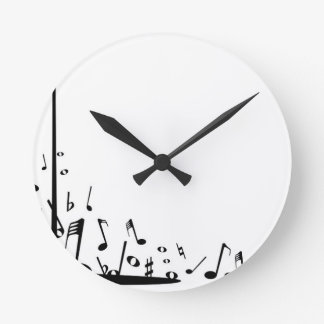 Pouring Musical Notes Round Clock