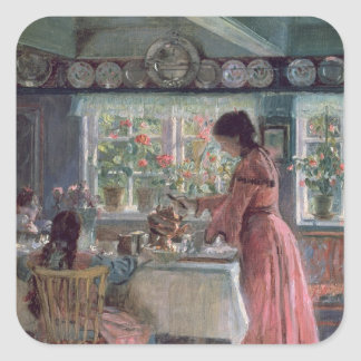 Pouring the Morning Coffee, 1906 Square Sticker