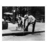 Pouring Whiskey Into a Sewer, 1930. Vintage Photo Poster