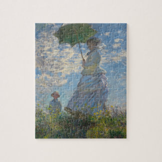 Pours the parasol the woman (mone lady) who jigsaw puzzles