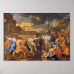 Poussin la adoración del becerro de oro grande par póster