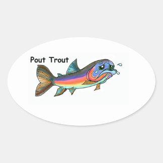Pout Trout Oval Sticker