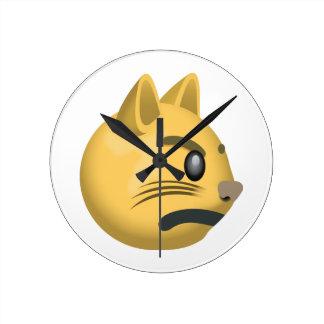 Pouting Cat Face Emoji Round Clock