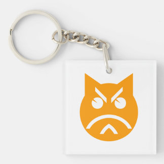 Pouting Emoji Cat Keychain