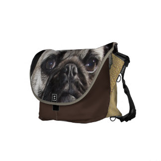 Pouty Pug Painting Messenger Bag