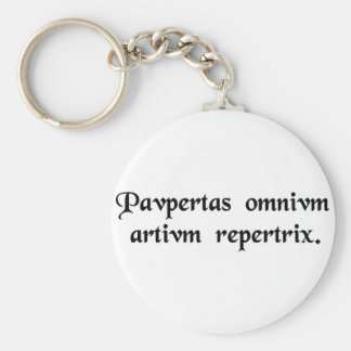 Poverty is the inventor of all the arts. basic round button keychain