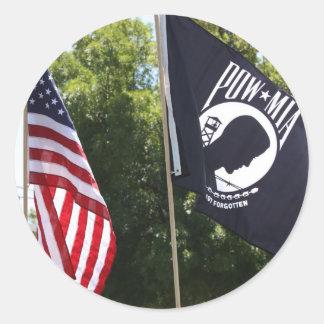 POW Flag Classic Round Sticker