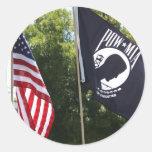 POW Flag Round Stickers