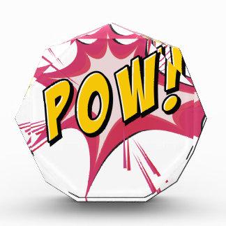 Pow flash on white acrylic award