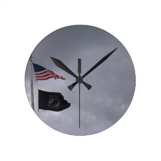 POW MIA American Flags 2 Round Clock