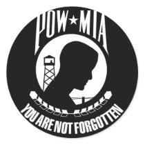 POW-MIA Flag Classic Round Sticker