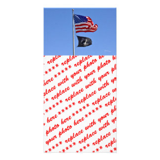 POW MIA Flag with Old Glory Picture Card