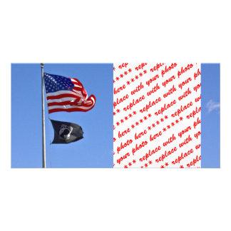 POW MIA Flag with Old Glory Customized Photo Card