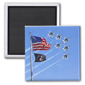 POW MIA Flag with Old Glory & The Thunderbirds 2 Inch Square Magnet
