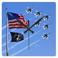 POW MIA Flag with Old Glory & The Thunderbirds Wallclocks
