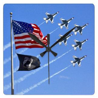 POW MIA Flag with Old Glory & The Thunderbirds Square Wallclocks