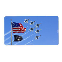 POW MIA Flag with Old Glory & The Thunderbirds Label