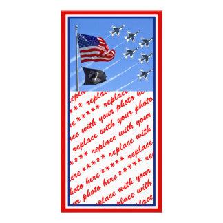 POW MIA Flag with Old Glory The Thunderbirds Custom Photo Card