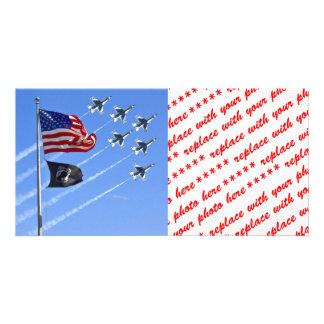 POW MIA Flag with Old Glory The Thunderbirds Photo Greeting Card