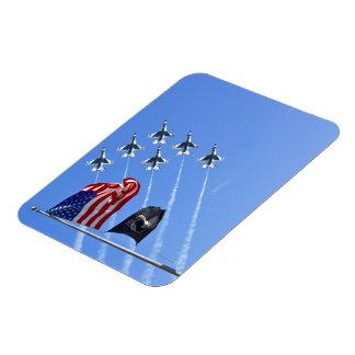 POW MIA Flag with Old Glory & The Thunderbirds Rectangular Photo Magnet