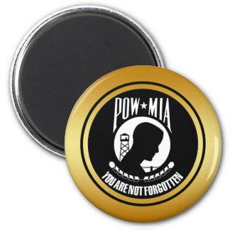 POW MIA - GOLD FRAME 2 INCH ROUND MAGNET