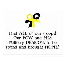 POW/MIA Military DESERVE to come HOME! Postcard