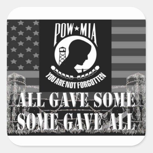 """""""POW-MIA"""" Military Stickers Sticker"""