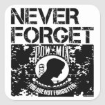 POW MIA Never Forget Square Stickers