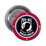 POW MIA - RED WHITE AND BLUE 2 INCH ROUND BUTTON