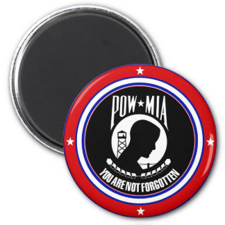POW MIA - RED WHITE AND BLUE 2 INCH ROUND MAGNET