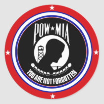POW MIA - RED WHITE AND BLUE CLASSIC ROUND STICKER