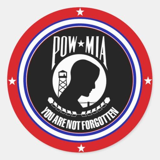 POW MIA - RED WHITE AND BLUE ROUND STICKERS