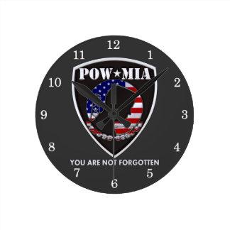 POW MIA - Shield Round Wall Clock