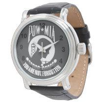POW-MIA You Are Not Forgotten - Men's Black Leathe Watch