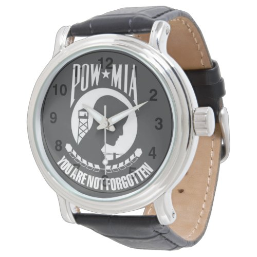 POW-MIA You Are Not Forgotten – Men's Black Leathe Watch