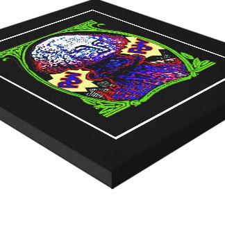POW!! Money blows up BLACK CANVAS white outline ch Canvas Print