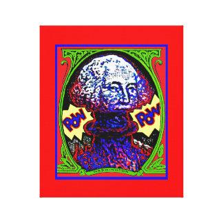 POW!! Money blows up RED CANVAS / Blue line cheap Canvas Print