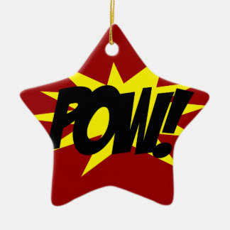 POW!.png Double-Sided Star Ceramic Christmas Ornament
