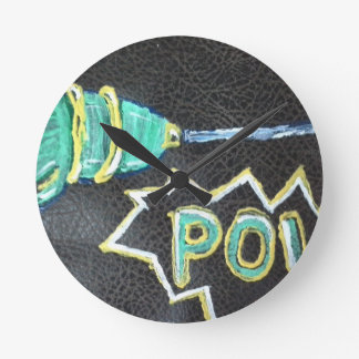 pow! retro ray gun painting leather background round wall clock