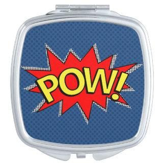 POW! - Superhero Comic Book Red/Yellow Bubble Compact Mirror