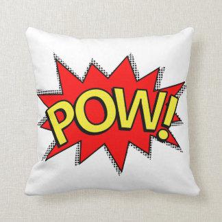 POW! - Superhero Comic Book Red/Yellow Bubble Throw Pillows