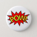 """POW! - Superhero Comic Book Red/Yellow Bubble Pinback Button<br><div class=""""desc"""">Superhero comic book &quot;POW!&quot; sound effect bubble.  This design features the familiar look of a red spiky bubble with black dotted shadows.  &quot;POW!&quot; in a two-tone dotted yellow fill with a slight black shadow to make the word pop.</div>"""