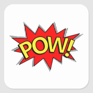 POW! - Superhero Comic Book Red/Yellow Bubble Square Sticker