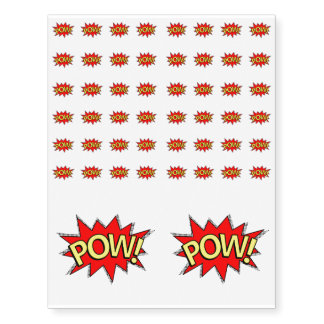POW! - Superhero Comic Book Red/Yellow Bubble Temporary Tattoos