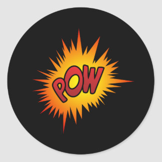 Pow Superhero Fight Classic Round Sticker