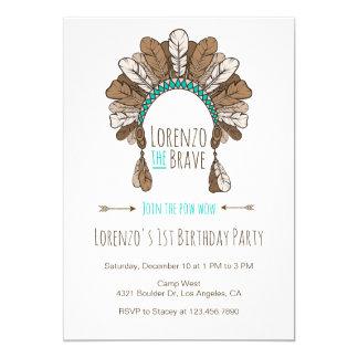 Pow Wow Headdress Tribal Birthday Party Invitation