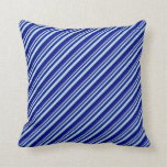 [ Thumbnail: Powder Blue and Blue Colored Lined Pattern Pillow ]