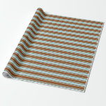 [ Thumbnail: Powder Blue and Brown Colored Lines Wrapping Paper ]