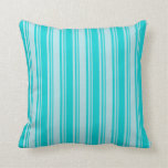 [ Thumbnail: Powder Blue and Dark Turquoise Colored Lines Throw Pillow ]